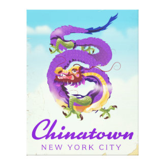 Chinatown New York city vintage poster Canvas Print