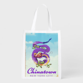 Chinatown New York city vintage poster Reusable Grocery Bag