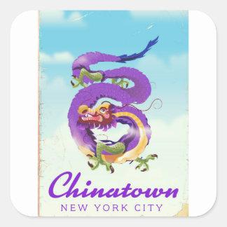 Chinatown New York city vintage poster Square Sticker