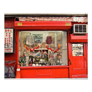 Chinatown, NYC Storefront with Tissue Dragons Photographic Print