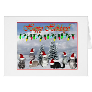 Chinchilla Santas Decorating Tree Card