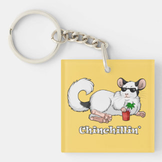 """Chinchillin'"" Square Keychain"
