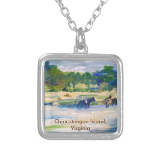 Chincoteague Island Horse Painting Square Pendant Necklace