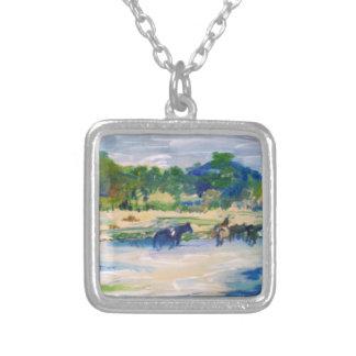 Chincoteague Island Horse Painting Square Pendant Necklace