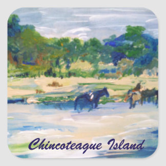 Chincoteague Island Horse Painting Sticker