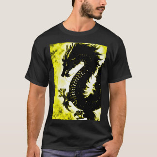Chinese Air Dragon Fantasy Art Nouveau Custom T-Shirt