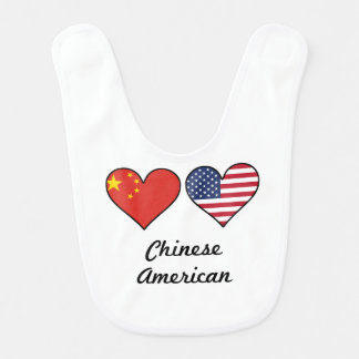 Chinese American Flag Hearts Bib