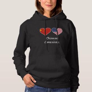 Chinese American Flag Hearts Hoodie