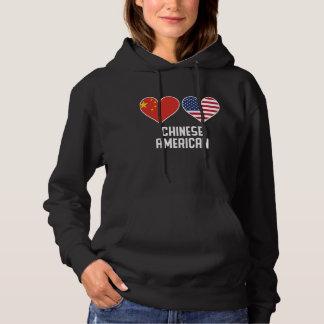Chinese American Heart Flags Hoodie