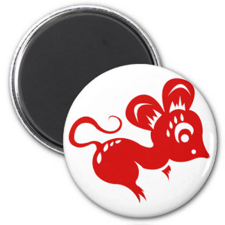 Chinese Astrology Rat Illustration 6 Cm Round Magnet