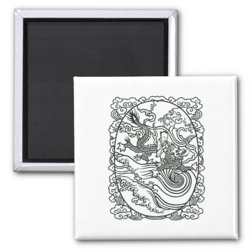 Chinese Baby Riding Dragon - Good Luck Charm Fridge Magnets