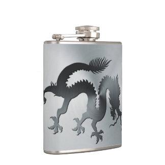 Chinese banner dragon engraved on brushed metal hip flask