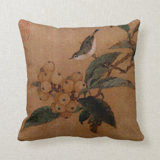 Chinese bird and loquat fruits throw cushions