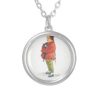 Chinese Boy and Playmate Silver Plated Necklace