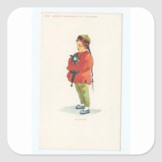 Chinese Boy and Playmate Square Sticker