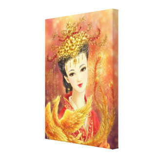 Chinese Bride with Phoenix Fantasy Canvas Print