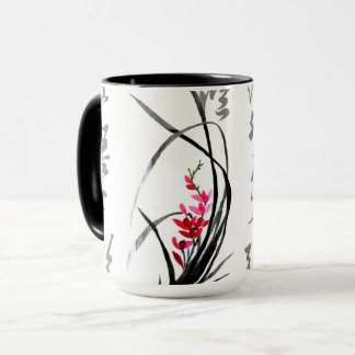 Chinese Calligraphy with Elegant Orchid Mug