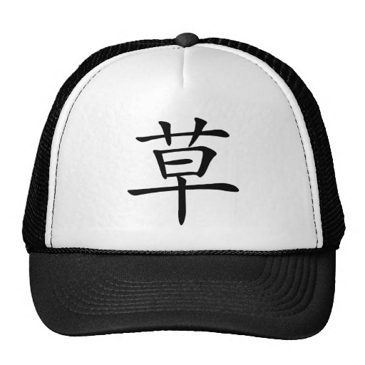 Chinese Character : cao, Meaning: grass, straw Hats