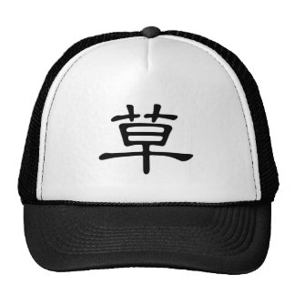 Chinese Character : cao, Meaning: grass, straw Mesh Hat