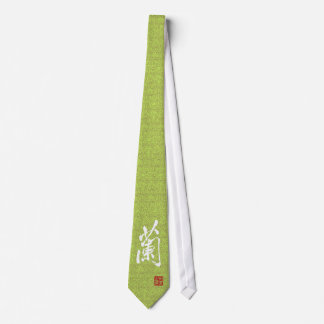 """Chinese Character """"Orchid"""" With Seal Tie"""