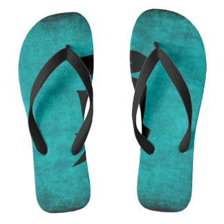 Chinese Character Painting for Courage in Blue Thongs