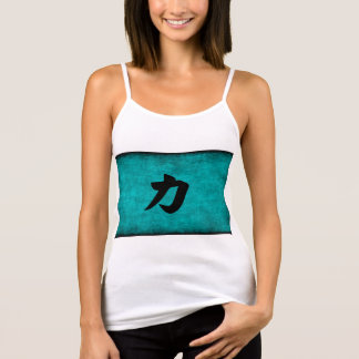 Chinese Character Painting for Strength in Blue Singlet