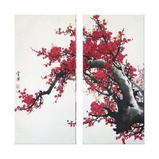 Chinese Cherry Blossom Painting (2 canvas) Gallery Wrapped Canvas