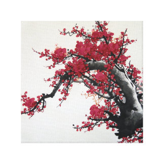 Chinese Cherry Blossom Painting Gallery Wrapped Canvas
