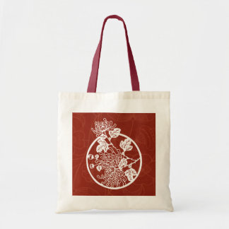 Chinese Chrysanthemums on Red Tote Bag