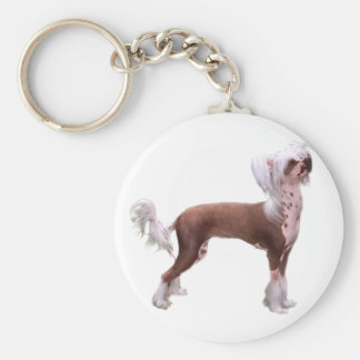Chinese Crested Basic Round Button Key Ring