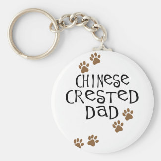 Chinese Crested Dad Basic Round Button Key Ring