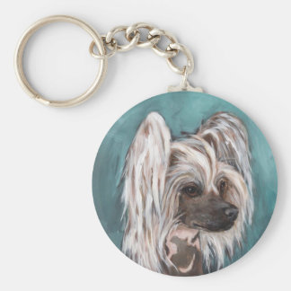 Chinese crested dog basic round button key ring