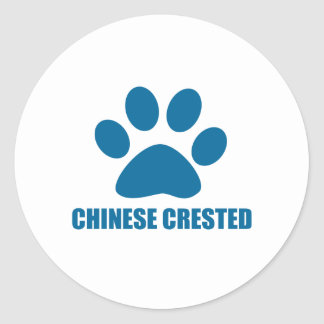 CHINESE CRESTED DOG DESIGNS CLASSIC ROUND STICKER