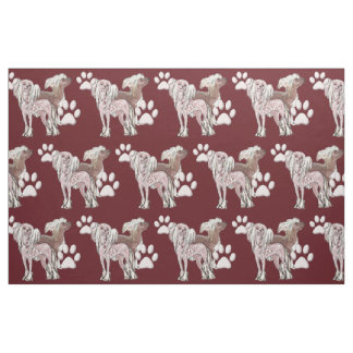 Chinese Crested dog fabric