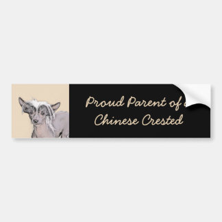 Chinese Crested Hairless Painting Original Dog Art Bumper Sticker