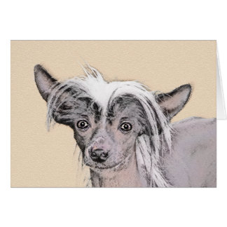 Chinese Crested Hairless Painting Original Dog Art Card