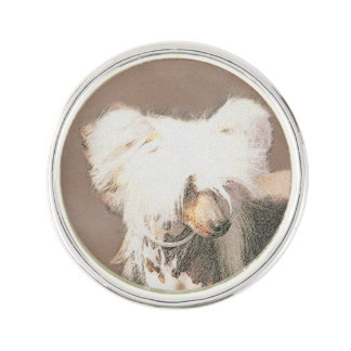 Chinese Crested Hairless Painting Original Dog Art Lapel Pin