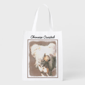 Chinese Crested Hairless Painting Original Dog Art Reusable Grocery Bag