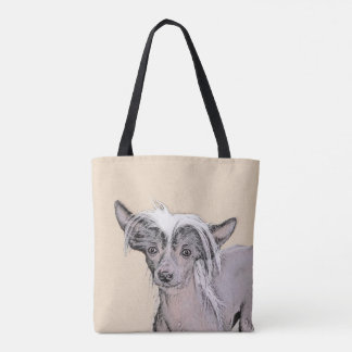 Chinese Crested Hairless Painting Original Dog Art Tote Bag