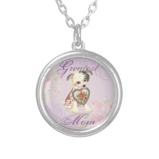 Chinese Crested Heart Mom Silver Plated Necklace