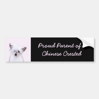 Chinese Crested Powderpuff Painting - Dog Art Bumper Sticker