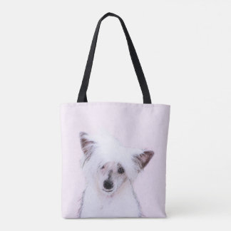 Chinese Crested Powderpuff Painting - Dog Art Tote Bag