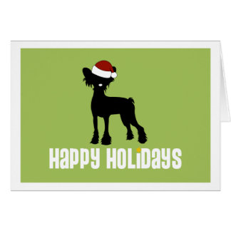 Chinese Crested Santa Hat Card