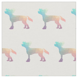 Chinese Crested Silhouette Tiled Fabric