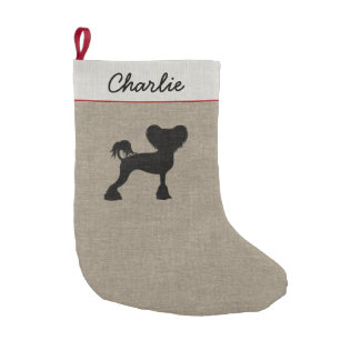 Chinese Crested Silhouette with Text Small Christmas Stocking