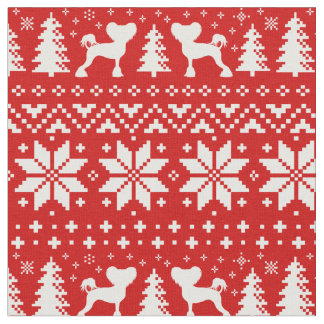 Chinese Crested Silhouettes Christmas Pattern Red Fabric