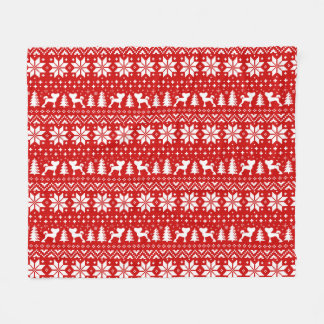 Chinese Crested Silhouettes Christmas Pattern Red Fleece Blanket
