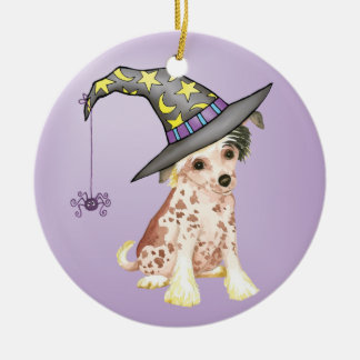 Chinese Crested Witch Ceramic Ornament