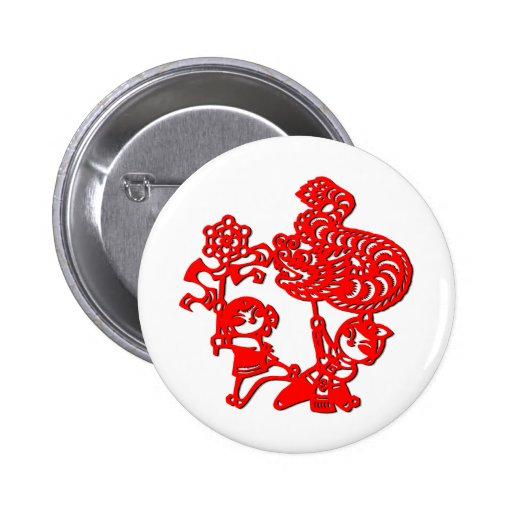 Chinese culture : dragon dance (in red) buttons