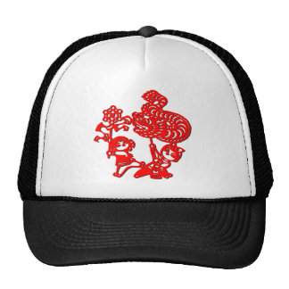 Chinese culture : dragon dance (in red) trucker hats
